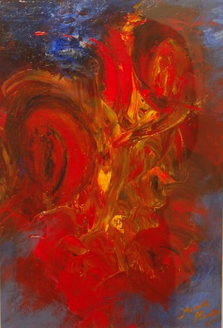 An Acrylic painting by Harald Korte in the Abstract style  with main colour being Red and titled Dante's Inferno