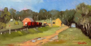 An Oil painting by Lyn Ellis in the Impressionist style  depicting Landscape Rural with main colour being Blue Green and Red and titled Muckleford Railway Siding