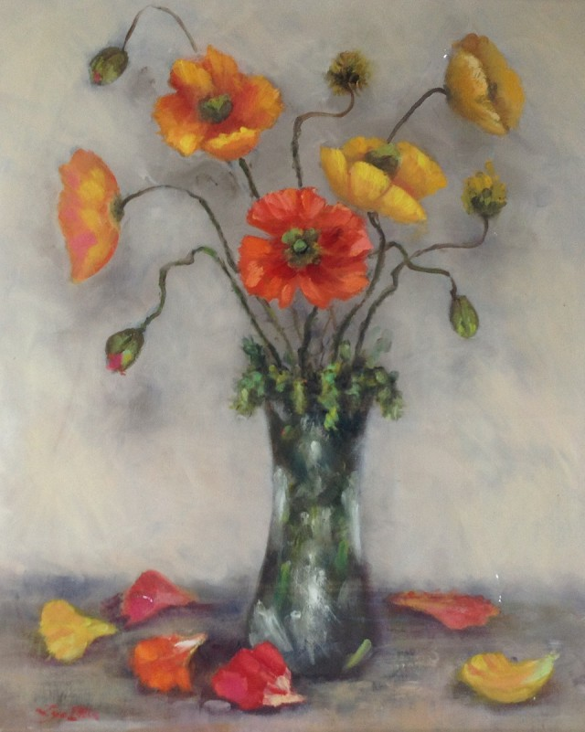 Oil Painting by Lyn Ellis titled Spring Poppies