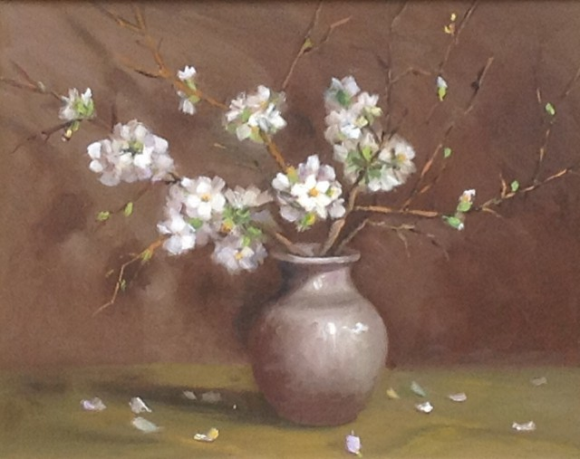 Oil Painting by Lyn Ellis titled White Japonica