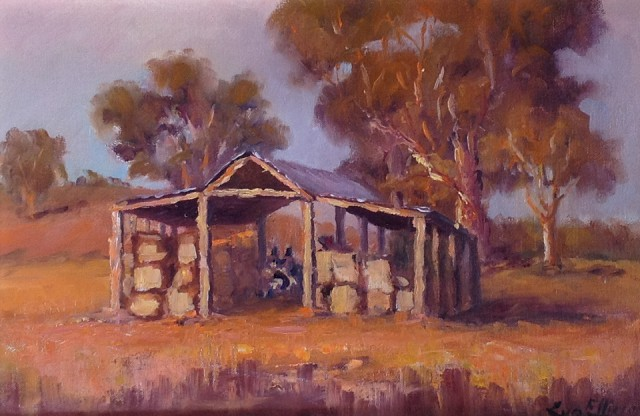 Painting by Lyn Ellis titled Faraday Hay Shed at Sunset