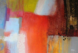 A Mixed Media painting by Marian Alexopoulos in the Abstract style  with main colour being Blue Brown and Grey and titled Red Earth