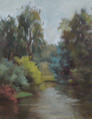 An Oil painting by Simone Phanthakoun in the Impressionist style  depicting Landscape Rural Trees and Water with main colour being Blue Grey and Olive and titled Marybenong Park