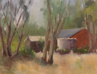 An Oil painting by Simone Phanthakoun in the Impressionist style  depicting Landscape Rural and Sheds with main colour being Blue Brown and Green and titled Backyard in Macedon