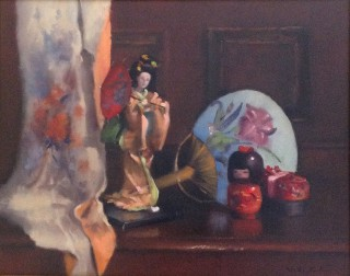 An Oil painting by Simone Phanthakoun in the Realist style  depicting Still Life Oriental with main colour being Brown Cream and Grey and titled Still Life - Oriental