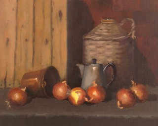 An Oil painting by Simone Phanthakoun in the Realist style  depicting Still Life Fruit and Pots with main colour being Brown and titled Onions with Still Life