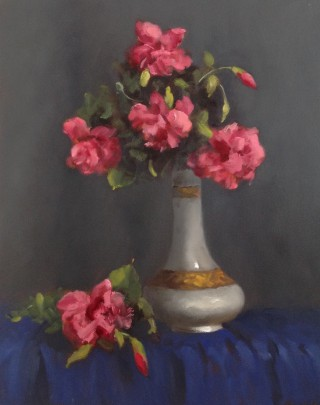 An Oil painting by Simone Phanthakoun in the Realist style  depicting Flowers and Vases with main colour being Blue Cream and Grey and titled Pink Hibiscus