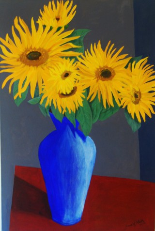 An Acrylic painting by Harald Korte in the Contemporary style  depicting Flowers and Vases with main colour being Blue Brown and Grey and titled Sunflowers