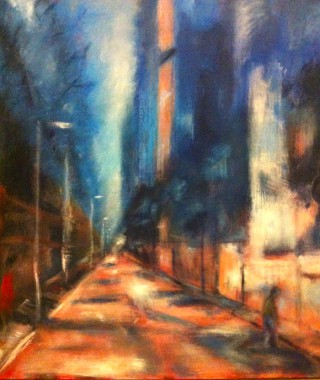 An Acrylic painting by Dawn Robinson depicting Landscape City with main colour being Blue Orange and Red and titled Streetscape