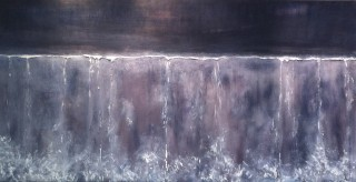 An Acrylic painting by Dawn Robinson in the Abstract style  with main colour being Black and Purple and titled Untitled