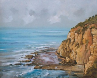 An Oil painting by Gregory R. Smith in the Realist style  depicting Landscape Beach Rocks and Water with main colour being Blue and Ochre and titled Sunnymead Cliffs