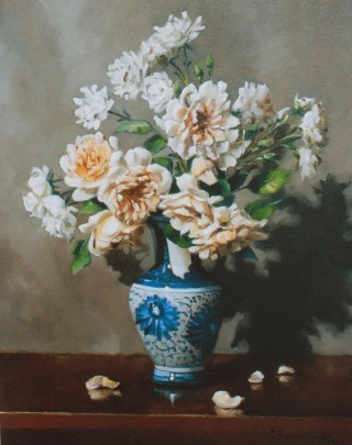 An Oil painting by Gregory R. Smith in the Realist style  depicting Flowers and Vases with main colour being Blue Brown and Cream and titled Pegasus and Seafoam Roses