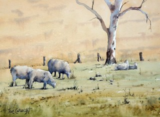 A Watercolour artwork by Joe Cartwright in the Realist Impressionist style  depicting Landscape Animals and Rural with main colour being Grey Ochre and Olive and titled Grazing away