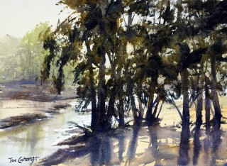 A Watercolour artwork by Joe Cartwright in the Realist Impressionist style  depicting Landscape River Rural and Trees with main colour being Blue Green and Olive and titled Grose River at Yarramundi