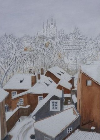 A Mixed Media artwork by John Vander Reest in the Illustrative style  depicting Buildings City and Snow with main colour being Brown Grey and White and titled Snow in Prague