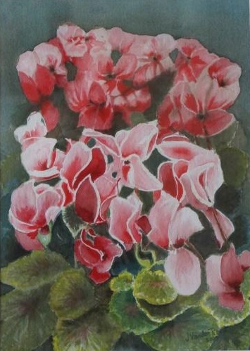 Watercolour Painting by John Vander Reest titled Cyclamen