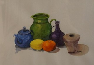 A Watercolour artwork by John Vander Reest in the Realist style  depicting Still Life Pots with main colour being Blue Cream and Green and titled Still Life