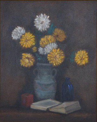 An Oil painting by John Vander Reest in the Realist style  depicting Still Life Flowers and titled Yellow & White Dahlias
