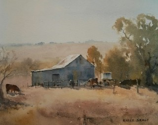 A Watercolour artwork by Kasey Sealy in the Realist Impressionist style  depicting Rural Farmland and Sheds with main colour being Grey Ochre and Olive and titled Merriwa Farm