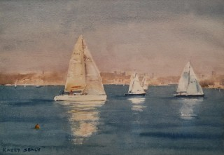 A Watercolour artwork by Kasey Sealy in the Realist Impressionist style  depicting Boats with main colour being Blue Grey and White and titled Boats on Sydney Harbour