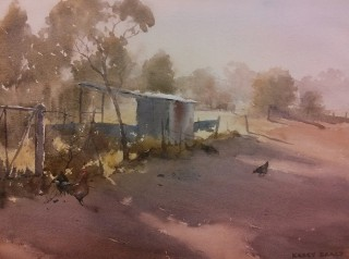 A Watercolour artwork by Kasey Sealy in the Realist Impressionist style  depicting  Farmland Rural and Sheds with main colour being Blue Grey and Olive and titled Afternoon Light, Menindee