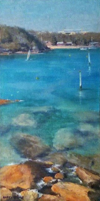 An Oil painting by Kasey Sealy in the Realist Impressionist style  depicting  Beach Rocks and Water with main colour being Blue and Ochre and titled Summer Day, Manly