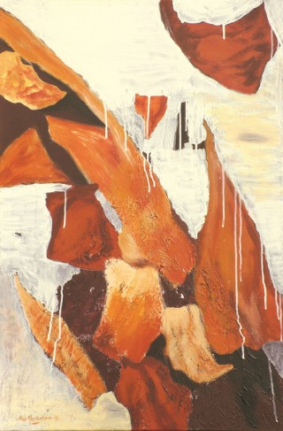 An Acrylic painting by Alex Mortensen in the Abstract style  depicting  Rocks with main colour being Brown Cream and Ochre and titled Abstract Rocks And Stalactites