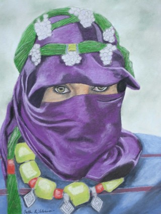 A Pastel painting by Beth Gibbeson in the Realist style  depicting Woman with main colour being Blue Green and Purple and titled Moroccan Eyes