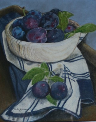 A Pastel painting by Beth Gibbeson in the Realist style  depicting Still Life Fruit with main colour being Blue Brown and Grey and titled Summer Fruit