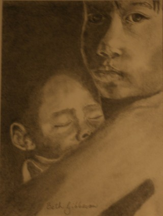 A Pencil painting by Beth Gibbeson in the Realist style  depicting People Children and Woman with main colour being Brown and Ochre and titled Lullaby