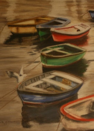 A Pastel artwork by Beth Gibbeson in the Realist style  depicting Boats with main colour being Blue Brown and Red and titled Sunset