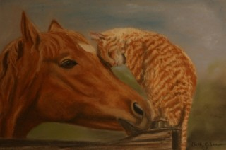 A Pastel painting by Beth Gibbeson in the Realist style  depicting Animals Cats and Horses with main colour being Green and Orange and titled Best of Friends