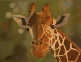 A Pastel painting by Beth Gibbeson in the Realist style  depicting Animals with main colour being Brown Green and Orange and titled The Lookout