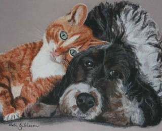 A Pastel painting by Beth Gibbeson in the Realist style  Animals Cats and Dogs with main colour being Black Grey and Orange and titled Best Buddies