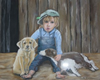 A Pastel painting by Beth Gibbeson in the Realist style  depicting Children Animals and Boy with main colour being Blue and Brown and titled Contentment