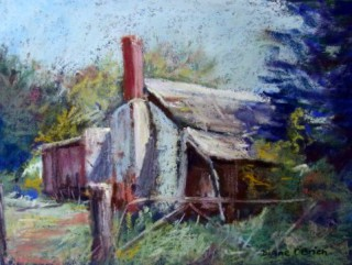 A Pastel artwork by Diane O'Brien in the Realist Impressionist style  depicting Landscape Rural with main colour being Blue Brown and Green and titled Forgotten