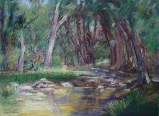 A  painting by Diane O'Brien depicting  Swamp Trees and Waves and titled Golden Pool