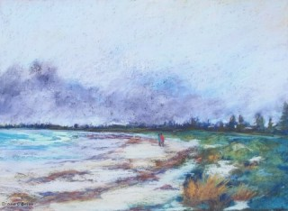 A  painting by Diane O'Brien depicting  Beach and titled Gathering Storm