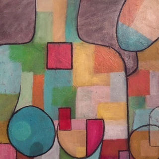 Mixed Media Painting by Dawn Robinson titled Conversation