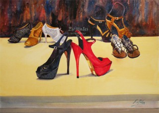 A Watercolour artwork by Ev Hales in the Realist Impressionist style  depicting Still Life and Woman with main colour being Brown Red and Yellow and titled If the Shoe Fits…