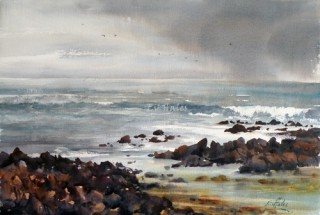 A Watercolour artwork by Ev Hales in the Realist Impressionist style  depicting Beach Rocks and Water with main colour being Blue Brown and Grey and titled Port Fairy Rain Squall