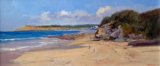 An Oil painting by Richard Chamerski in the Impressionist style  depicting Beach with main colour being Blue Brown and Cream and titled Summer Breeze, Torquay