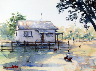 A Watercolour painting by Chrysovalantou Mavroudis in the Realist Impressionist style  depicting Landscape Buildings Bush and Farmland with main colour being Green and titled Morning Neighbour