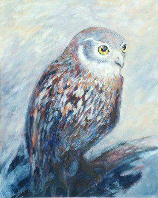 An Acrylic painting by Ekaterina Mortensen in the Contemporary Realist style  depicting Animals and Birds with main colour being Blue Brown and Cream and titled WATCHING