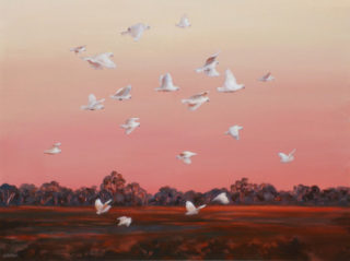 An Acrylic painting by Ekaterina Mortensen in the Realist style  depicting Landscape Birds Farmland and Night with main colour being Brown Orange and Pink and titled EVENING FLIGHT