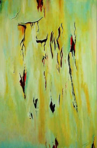 An Acrylic painting by Harald Korte in the Abstract style  with main colour being Green and titled The Ravages of Time
