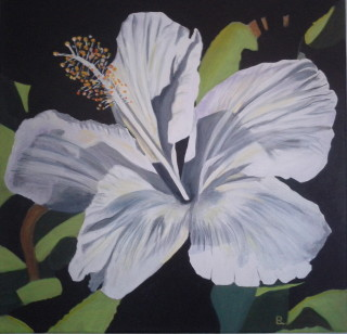 An Acrylic painting by Dawn Luttrell in the Realist style  depicting Flowers with main colour being Green Grey and Yellow and titled Hibiscus Princess