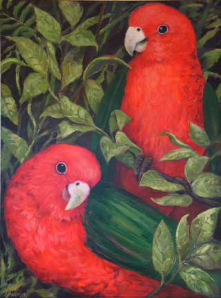 An Acrylic painting by Ekaterina Mortensen in the Contemporary Realist style  depicting Animals Birds and Bush with main colour being Green and Red and titled KING PARROTS 2