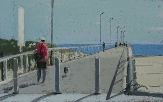 A Pastel artwork by Lyle Dayman in the Realist Impressionist style  depicting Landscape Beach and Water with main colour being Blue and Grey and titled Largs Jetty