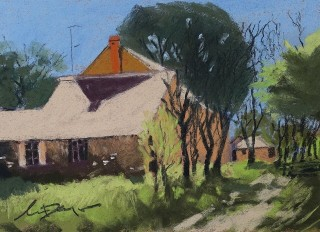 A Pastel artwork by Lyle Dayman in the Realist Impressionist style  depicting Landscape Buildings and Rural with main colour being Blue Brown and Green and titled Burra History